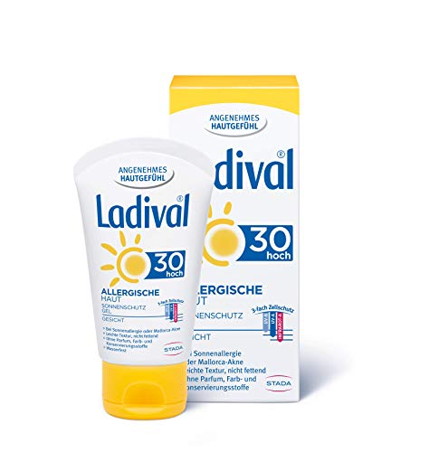 Ladival Allergische Haut Sonnenschutz Gel für das Gesicht LSF 30 – Parfümfreies Sonnengel für Allergiker – ohne Farb- und Konservierungsstoffe, wasserfest – 1 x 50 ml