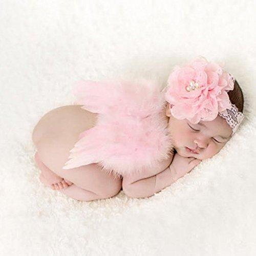 HENGSONG Baby Nette Haarband Stirnband Blumen Engel Flügel Kostüm Fotografie Props (Rosa)