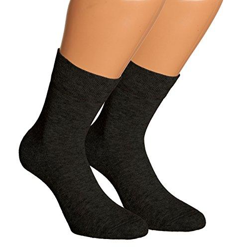 Vitasox 13306 Damen Wellness Socken Damensocken Baumwolle mit Frotteesohle einfarbig ohne Gummi schwarz 6er Pack 39/42