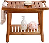 """Utoplike Teak Shower Bench Seat with Handles, Portable Wooden Spa Bathing Stool with Storage Towel Shelf, 22"""" x 13"""" x 18.6"""",Waterproof,Perfect for Indoor and Outdoor Use"""