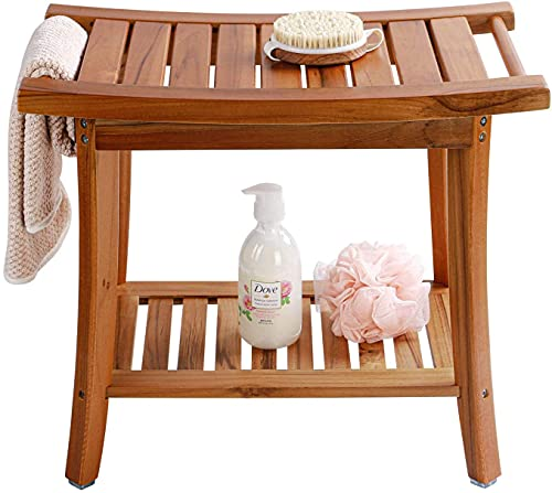 Utoplike Teak Shower Bench Seat with Handles, Portable Wooden Spa Bathing Stool with Storage Towel Shelf, 22' x 13' x 18.6',Waterproof,Perfect for Indoor and Outdoor Use