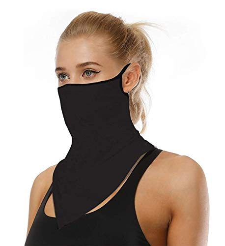 Face Mask Reusable Washable Cloth Bandanas Women Men Neck Gaiter Cover Ear Loops for Dust black