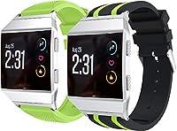 Arkgo コンパチブル Fitbit Ionic 時計バンド スポーツバンド 交換ベルト 柔らかいシリコン素材 耐衝撃 防汗 (緑 + 黒と緑)