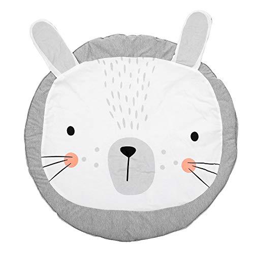 Fransande Alfombra redonda de 90 cm para niños, alfombra de algodón, manta de arrastre, alfombra de suelo para decoración de habitación de los niños, regalos de bebé conejo