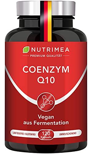 Premium Coenzym Q10 Hochdosiert   120 Vegane Kapseln für 2 Monatskur   200 mg Tagesdosis Natürliches Q10 pflanzlicher Fermentation Ubiquinon statt Ubiquinol Anti-Aging Antioxidans Haut Nerven Energy