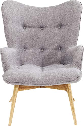Kare Design Sessel Vicky grau, gemütlicher Loungesessel mit Armlehne, TV-Sessel mit hellem Holzgestell, (H/B/T) 92 x 59 x 63 cm, hellgrau