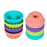 Gifbera Mini Fluted Tube 3 Inch Silicone Baking Molds / Cake Cups, Fits Standard Muffin/Cupcake Pans, 12-Count
