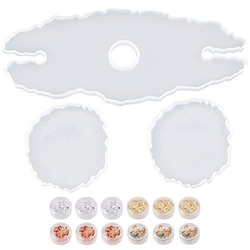 Set di stampi in silicone in resina da 3 pezzi incluso 1 stampo per portabottiglie 2 stampi per sottobicchiere in resina e piccoli fiocchi di lamina d'oro Stampo irregolare Calici vetro Sottobicchieri
