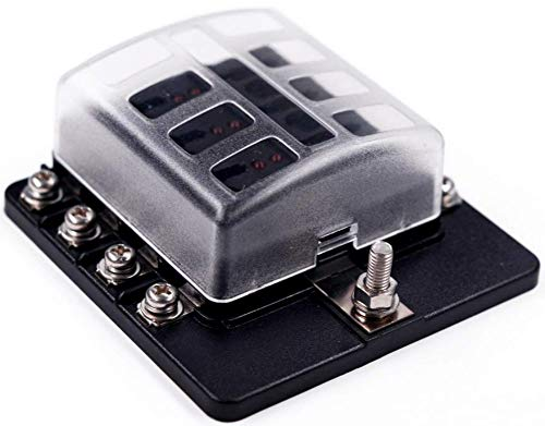 DCFlat 6/8/10/12-Way Fuse Block–ATC/ATO Fuse Box With Ground, LED Light Indication & Protection Cover, Bolt Connect Terminals, Stick Label, For Car Boat Marine Aut (6/8 / 10/12 -Way Fuse, 8-Way)
