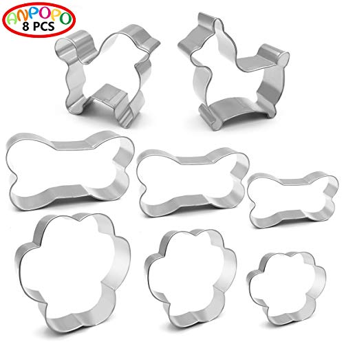 ANPOPO Dog Themed Cookie Cutters - 8 Piece - Corgi, Teddy Bear, 3 Paw Prints, 3 Dog Bones. Funny Cookie Cutters Shapes for Homemade Treats, Metal Stainless Steel
