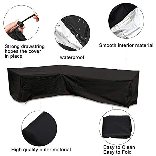 USLION L Shape Dining Set Cover Waterproof Garden Furniture Covers Patio Corner Furniture Sofa Rattan Cover with…