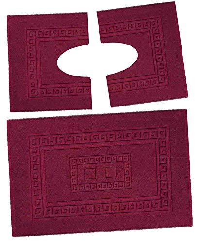 CASA TESSILE Torino Set 3 tappeti Bagno in Spugna, 1 cm 60X90 + 2 Girowater cm 60x45 - Bordeaux