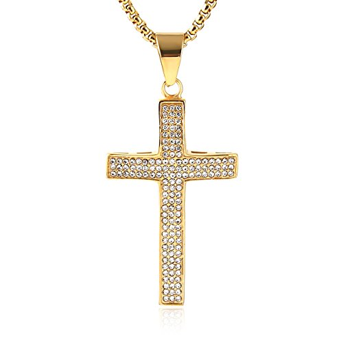 HZMAN Mens Iced Out Cross Cz Inlay Pendant 18k Gold Plated Stainless Steel Hip-Hop Necklace 24' Gold