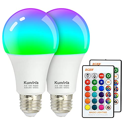 2 Pack Color Changing Light Bulb with Remote Control, A19 RGB LED Bulbs 10W E26, 85W Equivalent, 800lm, Warm White 2700K, 16 Colors Dimmable Mood Lamp for Home, Christmas, Party Decoration