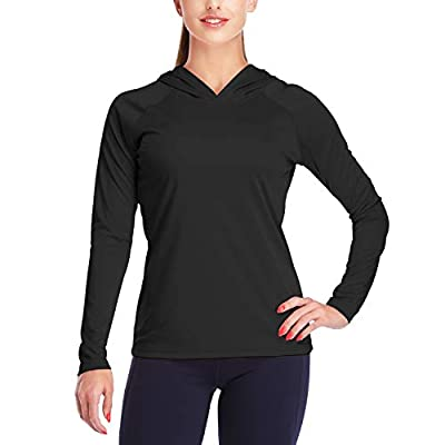 DAYOUNGWomens UPF 50+ UV Sun Protection Running Hiking Outdoors Performance Long Sleeve Hoody T-Shirt YWT10 Black L