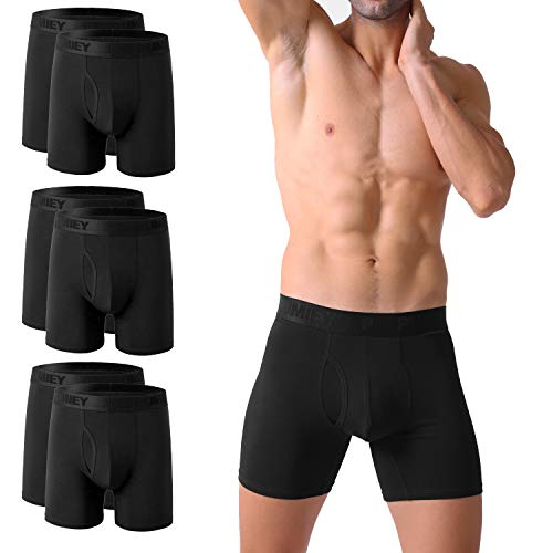 PUMIEY Mens Underwear Boxer Briefs Long Leg Cotton Best Comfortable Breathable Wicking No Ride Up 6 Pack X-Large,Black