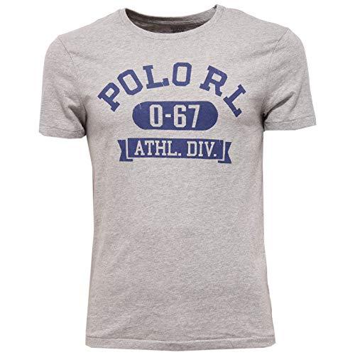 Ralph Lauren T-Shirt col Rond Gris Inscription Polo Bleu Coupe Droite pour Homme
