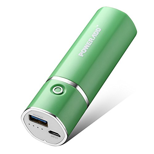 [Upgraded] POWERADD Slim 2 Most Compact 5000mAh External Battery 2.1A Ouput Portable Charger with Smart Charge for iPhones, iPad, Samsung Galaxy, HTC and More (D-Green)