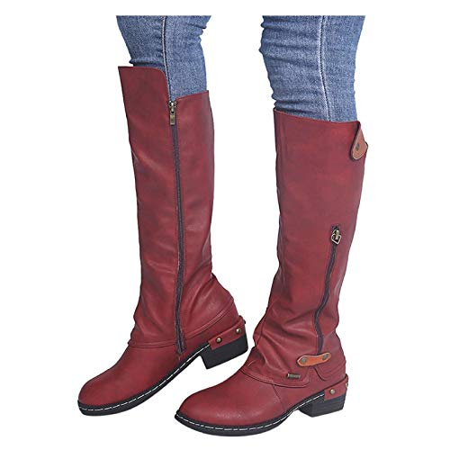 Luckycat Mujer Cremallera Tacón Cuadrado Color Sólido Botas Altas Zapatos hasta la Rodilla Botas de Punta Rojoonda