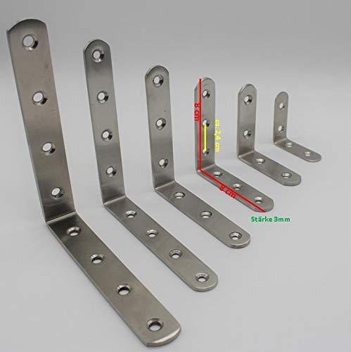 Euro Tische Edelstahl Winkelverbinder Balkenwinkel ideal für Innen- & Außenbereich - Metallwinkel in 6 verschiedenen Größen 5-15cm (10 Stück 8 cm)