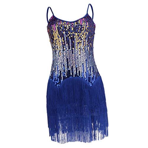 Sharplace Damesjurk Latijnse dans, rumba, dans, vintage, kostuum, cocktailjurk. - blauw - Taille Unique