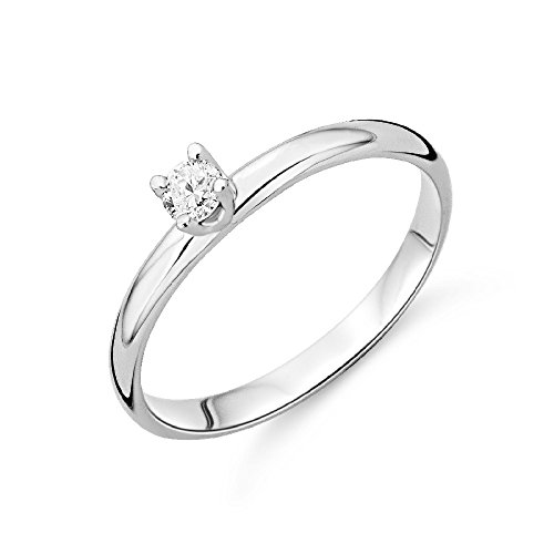 Miore 9 kt (375) White Gold Solitaire Ring with Diamond (0.10ct) for Women