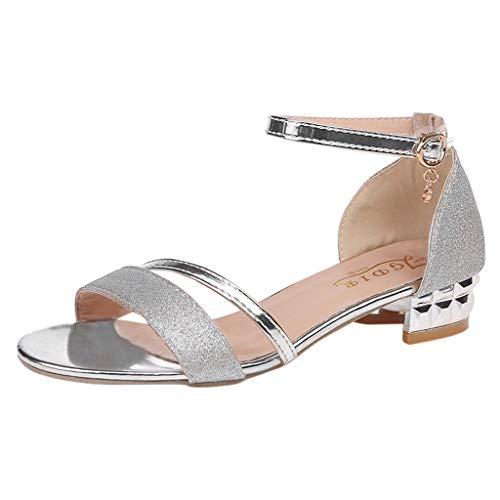 Lenfesh Sandalias Verano para Mujer, Zapatillas Zapatos de Tacón Bajo Elegantes Sandalia con Pulsera para Mujer