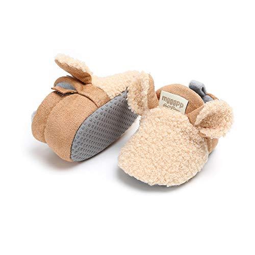 Carolilly Baby Mädchen Junge erste Schritt Turnschuhe Stiefel Cartoon Tierohren Winter Warm Weich (khaki, 0-6 Monate)