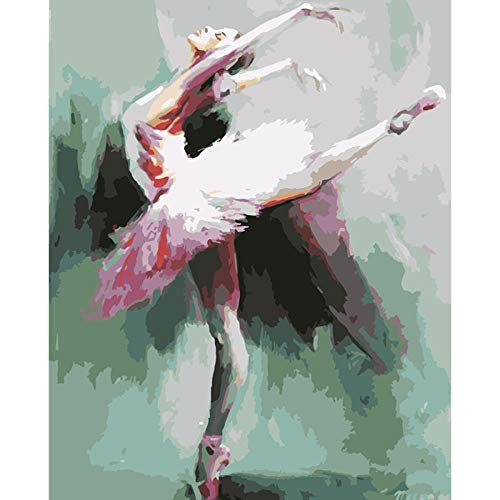 Para Pintar Por Números Pintura Por Número De Kits Diy Pintura Al Óleo Para Adultos Niños Pintura Arte De Pared Decoraciones Para El Hogar-Figura Bailarina De Ballet (Sin Marco)30x40cm