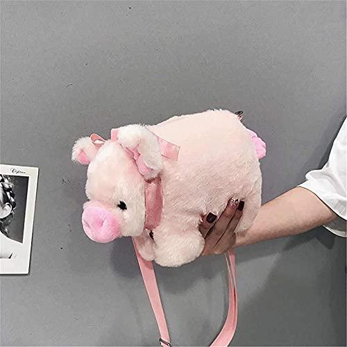 Gwuqbs Mochila Animal de Felpa Mochila Linda de Cerdo Mullido Bolsa de Cerdo de Dibujos Animados Femenino Bolsa de Hombro Mullido Bolsa de Mensajero Mullido
