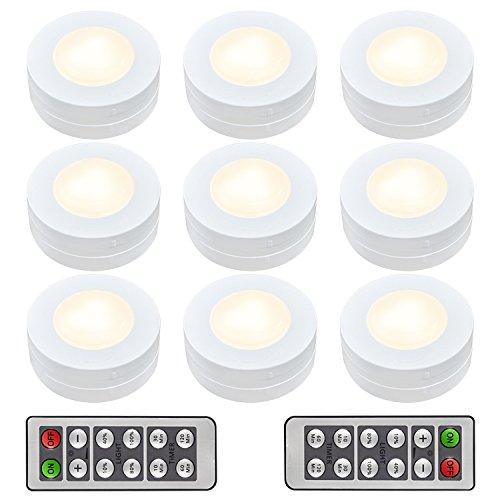 Schrankleuchten LED Nachtlicht mit Fernbedienung, Unterbauleuchten, Kabinett Beleuchtung, Treppen Licht Schrank Lichter für Flur, Schlafzimmer, batteriebetrieben und 3M Klebend, 9er MEHRWEG
