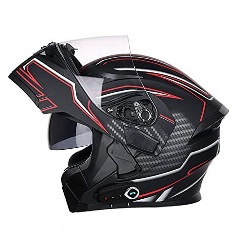 HSCDQ Nuevo Casco Bluetooth Flip Up Visor Dual Lens Casco Moto Cool Motocicleta Casco Casco Casco Black Motorbike Cascos modulares exc.tq (Color : Imitate K8 BT, Size : XXL)