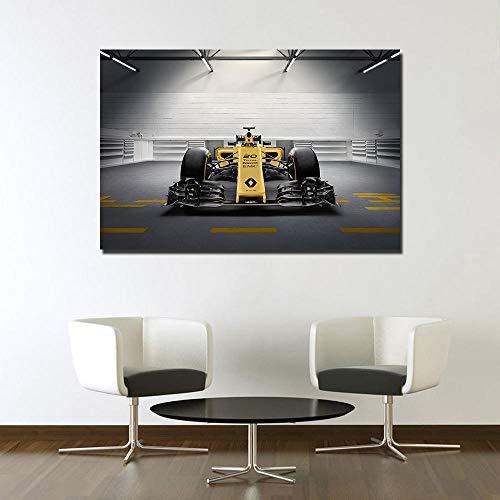 VVSUN Clásico Amarillo Renault RS16 F1 Coche de Carreras Lienzo Pintura Cartel impresión Pared Arte Imagen para Sala Livng decoración del hogar 60X90cm 24x36 Pulgadas sin Marco