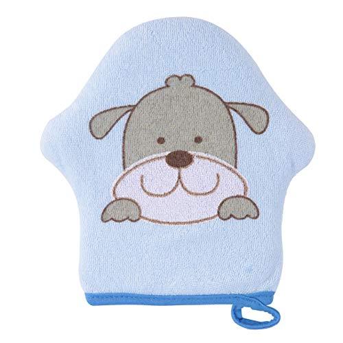 Esponja para Ducha de bebé manopla de baño de Dibujos Animados para bebé manopla de baño de algodón Suave Estropajo de algodón para niños y niños pequeños(Perro Azul)
