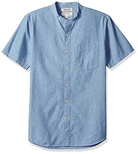 Amazon Brand - Goodthreads Men's Standard-Fit Short-Sleeve Band-Collar Chambray Shirt, -blue, Large