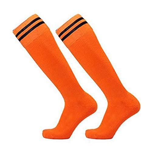 Heshan Calcetines de ftbol unisex con doble rayas para la rodilla, antideslizantes, para adultos y nios