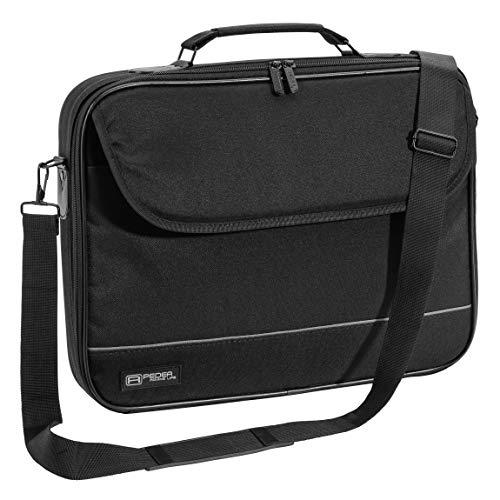 Pedea Laptoptasche Fair Notebook-Tasche bis 15,6 Zoll (39,6 cm) Umhängetasche mit Schultergurt, Schwarz