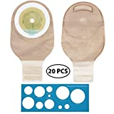 LotFancy 20 Drainable Pouches - Ostomy Bags with Closure for Colostomy Ileostomy Stoma Care, Cut-to-Fit, One-Piece System, Pack of 20