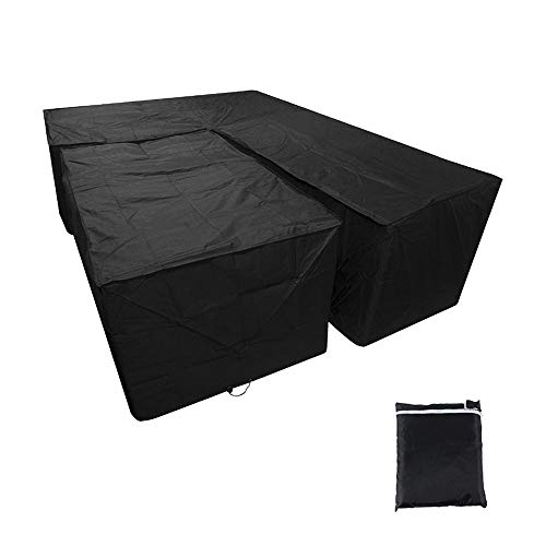 L Shaped Garden Furniture Covers,Waterproof Large Garden Table Cover Windproof Heavy Duty Outdoor Patio Dining Patio Set Protect Cover With Storage Bag (215X215X87CM, 155x95x68cm)