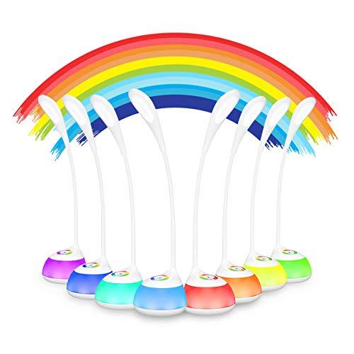 VicTsing LED Schreibtischlampe 5W Dimmbare Leselampe Nachttischlampe für Kinder, mit Stimmungslicht und Touch-Steuerung, 3 Helligkeitsstufen und RGB 256 Farblich für Kinderzimmer
