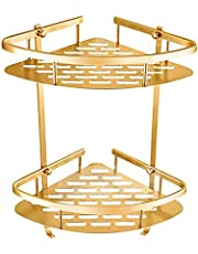 XIN NA RUI Estanteria BañO Estante Baño Estante de Oro Ducha Montado en la Pared Cesta de la Esquina Champú Muro de Almacenamiento Estante de baño (Color : Gold)