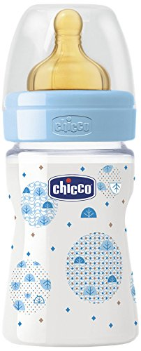 Chicco Wellbeing - Biberón con tetina de látex y flujo normal para bebé de 0m+, 150 ml, color azul