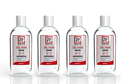 Rmove 4 flaconi da 200ml di gel igienizzante 70% ALCOL gel mani...