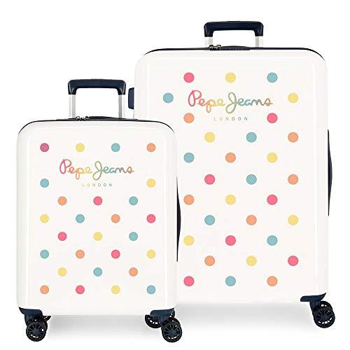 Pepe Jeans Emma Set valigie Bianco 55/70 cms Rigida ABS Chiusura TSA 119.5L 4 Ruote Bagaglio a mano