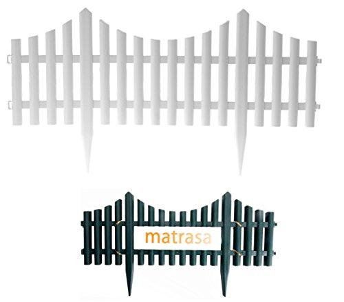matrasa Beetzaun Beeteinfassung Gartenzaun - aus Kunststoff in Holzoptik ca. 2,4 Meter (4er Set - grün)