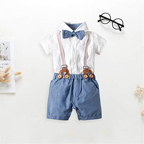 BABIFIS Baby Boy 2 Piezas Pantalones Vestidos Camisa Conjunto de Ropa con Tirantes Pajarita Mono, Infant…