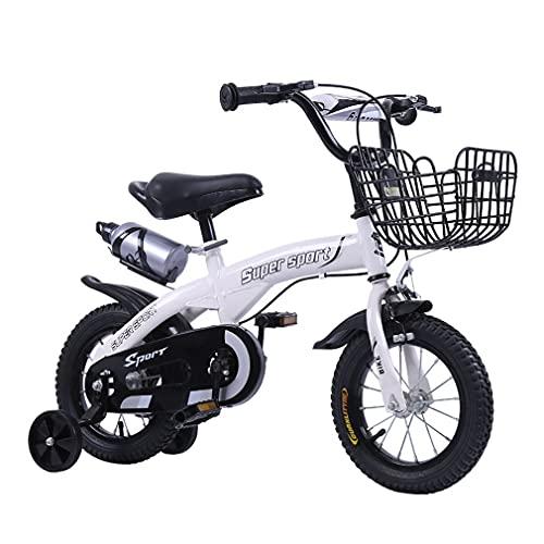 DHMKL 12/14/16/18 Pulgadas Bici Infantiles Bicicleta con Ruedas Auxiliares Intermitentes Cuadro Acero con Alto Contenido De Carbono con Campana Bomba Libre Apto para NiñOs 2 A 9 AñOs
