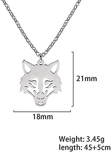 huangxuanchen co.,ltd Necklace Wolf Head Necklace Animal Necklace Pendant Necklace Color Stainless Steel Hollow Necklace for Unisex Gift Party Jewelry Gift Girls Boys Necklace Collier