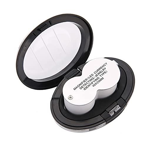 GYY Lupa De Mano Portátil con Luz LED - 40 Veces HD Joyería Diamante Antiguo Jade Sello Identificación Mirror