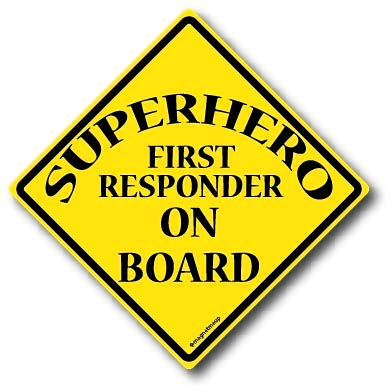Superhero First Responder On Board Magnet Decal Perfect for Car or Truck